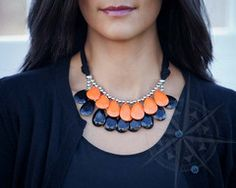 Halloween Special Double Delight Necklace Orange/Black in Silver | OurWorldBoutique IG @ourworldboutique
