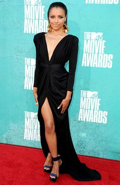 Kat Graham The Vampire Diaries star wowed in Maria Lucia Hohan when serving as a red carpet fashion correspondent for MTV.