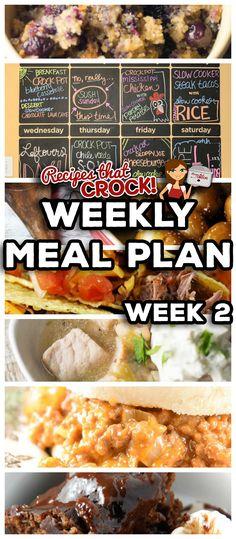 Weekly Meal Plan including: Slow Cooker Blueberry Breakfast Casserole, Crock Pot…