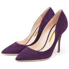 Rupert Sanderson High Heel Pumps (2,060 PEN) ❤ liked on Polyvore featuring shoes, pumps, heels, chaussures, обувь, plum pumps, suede pumps, rupert sanderson shoes, high heeled footwear and jeweled pumps