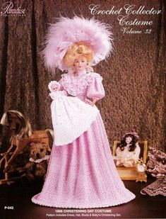 Baby Christening Set (gown and bonnet). For 11 fashion dolls like Barbie. Gown Pattern, Doll Dress Patterns, Barbie Patterns, Costume Patterns, Clothing Patterns, Crochet Doll Dress, Crochet Barbie Clothes, Barbie Dress, Barbie Doll