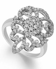 14k White Gold Diamond Victorian Ring (1 ct. t.w.)