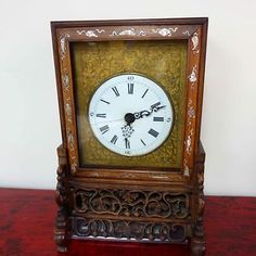 First Generation Nanking Chinese bracket clock circa mother of pearl inlaid front, 7 day movement, Roman numerals, carved back and feet, gilt metal decor… Decorating With Pictures, Decoration Pictures, Chinese Paper Cutting, Family Christmas, Christmas Shopping, Antique Art, Art News, Easter Bunny, New Art