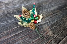 vintage Christmas corsage by umbrellafant on Etsy