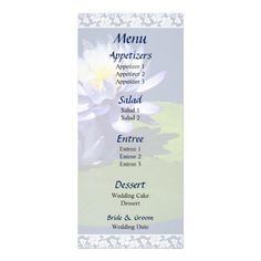 Designs by Susan Savad - Purple Water Lilies in Sunshine  Wedding Menu -- Water lily wedding menu that you can customize yourself. #wedding #weddingmenu #customize #flower #flowers #waterlily #waterlilies   $0.55  per card   BULK PRICING AVAILABLE!