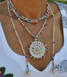 White TRIBAL MANDALA crochet NECKLACE boho necklace beaded crochet necklace ethnic jewelry hippie style colorful gipsy mandala by PanoParaTanto on Etsy https://www.etsy.com/listing/249466542/white-tribal-mandala-crochet-necklace
