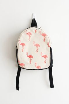 Mochila de niño, mochila infantil, impresión de Flamingo, bloque impreso…
