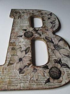 Large B, Nursery Letter B, Antiqued Letter B. $18.00, via Etsy.