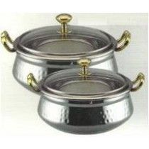 Stainless Steel Hammered Handi Serving Bowl With handles & Glass lid
