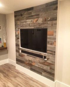 Reclaimed Weathered Wood is part of Living room tv wall - wood Color Texture Living Rooms Reclaimed Weathered Wood Living Room Tv, Home And Living, Modern Living, Tv Wall Design, House Design, Deco Tv, Home Theather, Tv Wanddekor, Tv Stand Designs
