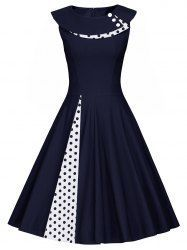 A Line Polka Dot Sleeveless Pleated Dress - PURPLISH BLUE L Mobile