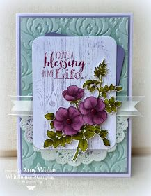 Stamps: Sweetbriar Rose, Hardwood, Blessed by God Ink: Memento ink, Soft Sky… Scrapbooking, Beautiful Handmade Cards, Stamping Up Cards, Cards For Friends, Tampons, Up Girl, Flower Cards, Greeting Cards Handmade, Homemade Cards