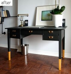 dipped legs. stylish home office. taken from http://www.designsponge.com/2011/04/before-after-painted-desk-decoupaged-side-table.html
