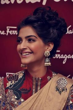 Sonam Kapoor's jhumkas. No matter what she wears ; she always manages to make quite a statement .