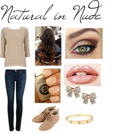 """Natural in Nude- Alone"" by abscoupe ❤ liked on Polyvore"