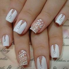 Cute Nail Art Designs, Beautiful Nail Designs, Cute Acrylic Nails, Gel Nails, Love Nails, Pretty Nails, Bride Nails, Wedding Nails Design, Rainbow Nails