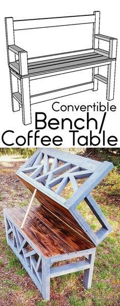 HOW TO: Build a DIY Bench Coffee Table convertible ana white