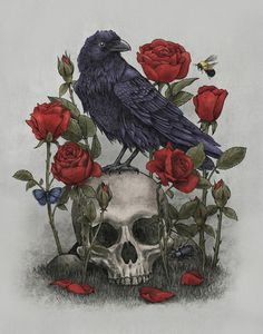 Crows Ravens:  #Raven with roses and skull.