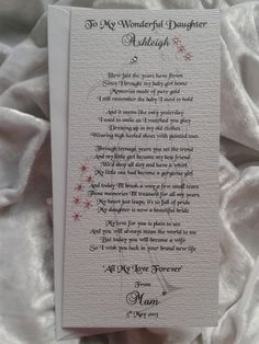 Mother or Parents of the Bride to their Daughter Wedding Keepsake Poem Card £3.95