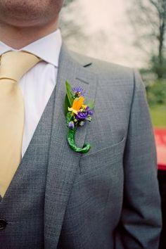 Yellow and purple buttonhole / boutonnierre...
