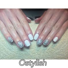 CND shellac manicure in cream puff with stamping. Black & white