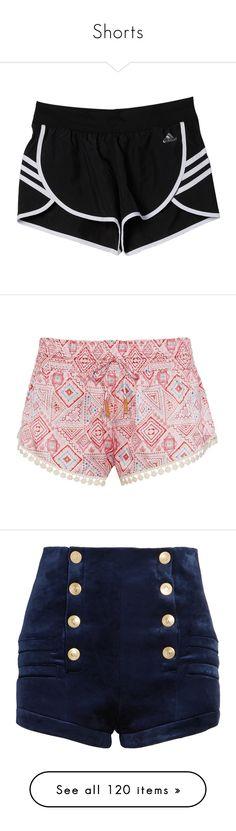 """Shorts"" by brook-s18 ❤ liked on Polyvore featuring shorts, bottoms, pants, adidas, red, beaded shorts, stretch waist shorts, elastic waistband shorts, mini shorts and drawstring shorts"