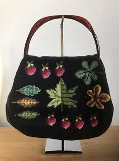 882302f12afc 1940s Black Needlepoint Bag with Strawberries and Leaves and Embroidery Bags