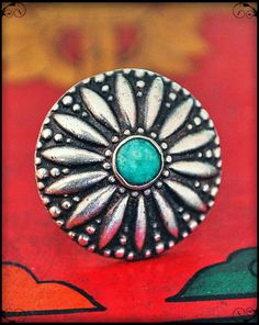 Gypsy Rajasthan Ring from India with Turquoise by COSMIC NORBU