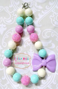 Purple Spring Bow Chunky Bubblegum Necklace {Easter} on Etsy, $18.00