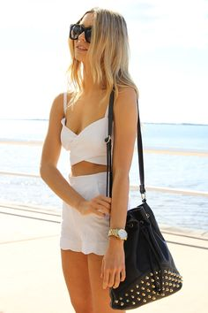 The Cross Top, Scalloped Shorts and Studded Bucket Bag