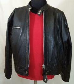 "Unisex Black Leather sz XL Motorcycle Jacket by Petrol 44"" Chest European style…"