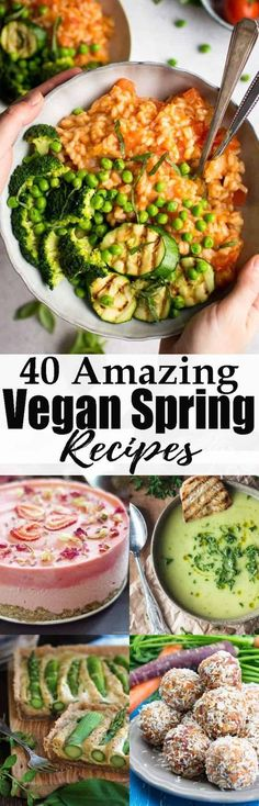 If you're looking for vegan spring recipes, this is the perfect roundup for you! It includes fresh and light vegan dinners, vegan desserts, and also vegan Easter recipes! Find more vegan recipes at veganheaven.org! #veganDishes #veganrecipe