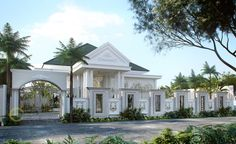 Mulyadi Private House - Banten- Quality house design of architectural services, experienced professional Bali Villa Tropical designs from Emporio Architect. Classic House Exterior, Classic House Design, House Design Photos, Dream House Exterior, Indoor Courtyard, House Outside Design, House Architecture Styles, Village House Design, English House