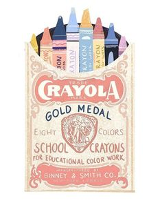 Beautiful drawing of vintage Crayola packet Art And Illustration, Image Deco, Posca Art, Design Art, Graphic Design, Doodles, Poster S, Jolie Photo, Creative Advertising
