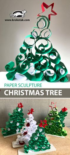 PAPER SCULPTURE: CHRISTMAS TREE Diy Paper Christmas Tree, Christmas Deco, All Things Christmas, Christmas Themes, Kids Christmas, Christmas Tree Decorations, Animal Crafts For Kids, Christmas Activities For Kids, Winter Crafts For Kids