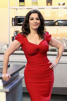 Nigella in my red dress