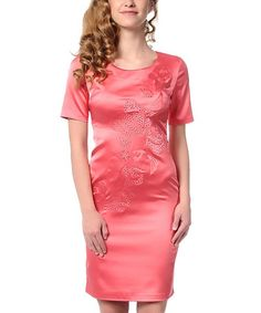 Another great find on #zulily! Pink Satin Embossed Sheath Dress by Polkadot #zulilyfinds