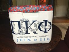 Pi kappa phi painted cooler don't tread on me flag