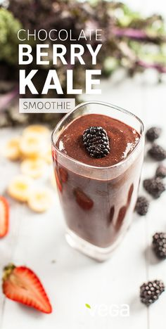 Chocolate Berry & Kale Smoothie: Dark, delicious, and filled with antioxidants, this chocolate berry kale smoothie comes straight from Colleen Holland, Associate Publisher and Co-Founder of VegNews. #VegaSmoothie #BestSmoothie