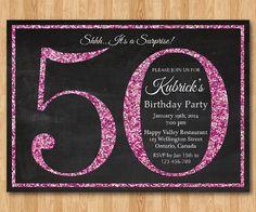 50th birthday invitation. Pink Glitter Birthday Party by arthomer
