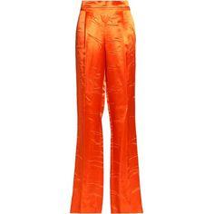 Emilio Pucci Satin straight-leg pants (3.728.960 IDR) ❤ liked on Polyvore featuring pants, orange, red satin pants, straight leg trousers, red pants, satin pants and orange pants