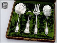 Coignet French All Sterling Silver Dessert Hors D'oeuvre Set Box Apples 5
