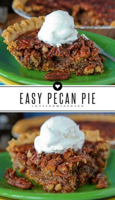Easy Pecan Pie Recipe. I usually find most pecan pie recipes to be a bit too sweet for my liking, but not this one, it's rich and delicious with a little more depth of flavor than usual. And super easy. My new favorite pecan pie recipe!: