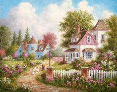 (notitle) – Elizabeth Iraheta Erazo – Join in the world of pin Storybook Cottage, Cottage Art, Landscape Art, Landscape Paintings, Belle Image Nature, Arte Country, Images Vintage, Spring Painting, Thomas Kinkade