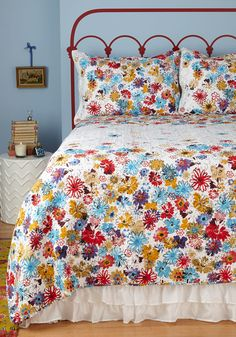 Serenity in Bloom Quilt Set in King. After a long day of on-the-go hustle and bustle, head off to your boudoir for a bit of welcomed reprieve by tucking yourself in below the colorful blooms of this floral-printed quilt set! #multi #modcloth