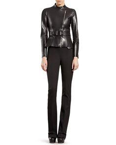 Leather Zip-Front Ja