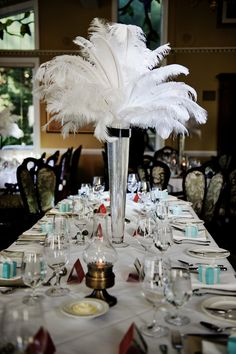 Lovely feathers and Tiffany boxes :: old Hollywood party!