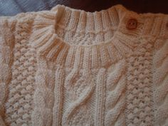 RESERVED for DIANE Cashmere Merino Silk Heirloom Quality 4ply Baby Fisherman Knit Aran Sweater Age to 1 year
