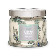 Balsam Snow—fresh-cut balsam, crisp pine and frosted spruce invigorate in an uplifting evergreen bouquet.