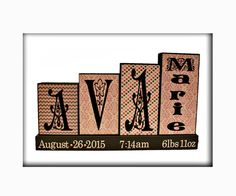 Baby Girl Name Wood Blocks Personalized with Birth Stats, New Baby Gift, Custom Baby Gift, 3 Letters Name Wooden Sign